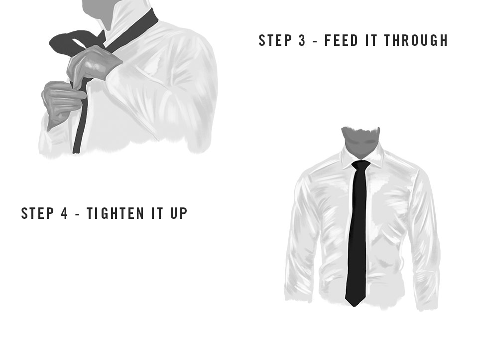 Steps to tie a four in hand knot