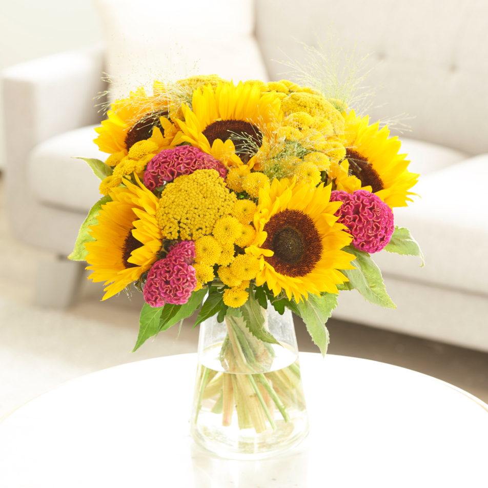 Sunflower and Celosia Bouquet with Chocs