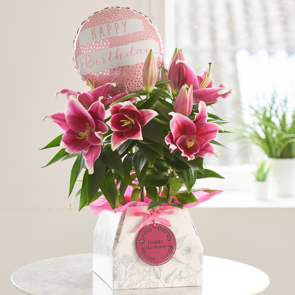 Oriental Lily Birthday Gift with chocs